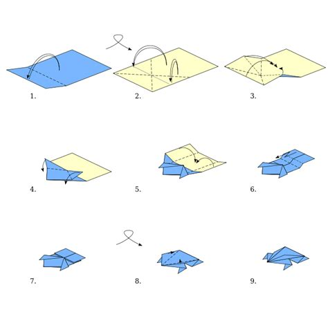 Origami Boat With Rectangle Paper by Origami Types Origami Frog Wikibooks Open Books