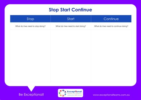 start stop continue template resource centre faculty 2 strategy