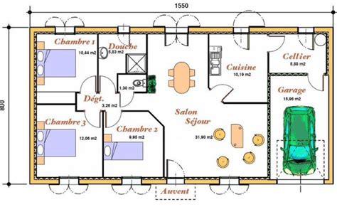 les chambres d une maison plan d 39 une maison a 3 chambres un salon