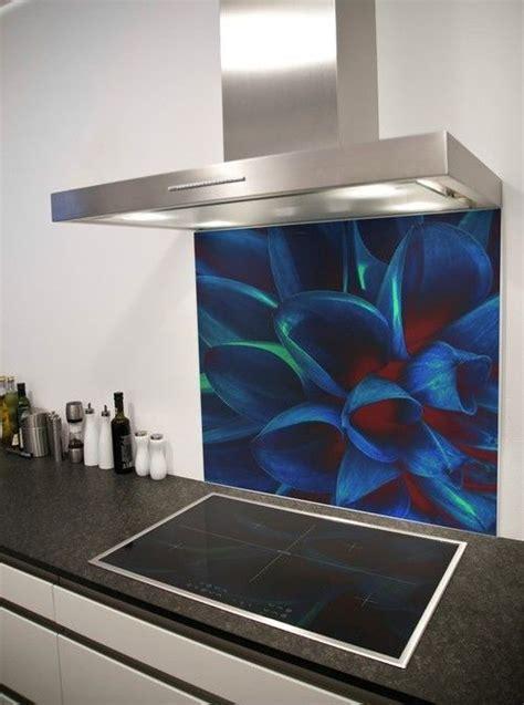 Bright blue flower Printed Glass Splashback from