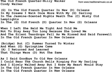 Country Musicthe Old French Quarterbilly Walker Lyrics