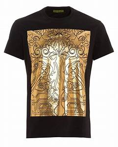 e18feef8 lyst versace jeans black t shirt regular fit gold foil digital baroque tee  in black for men