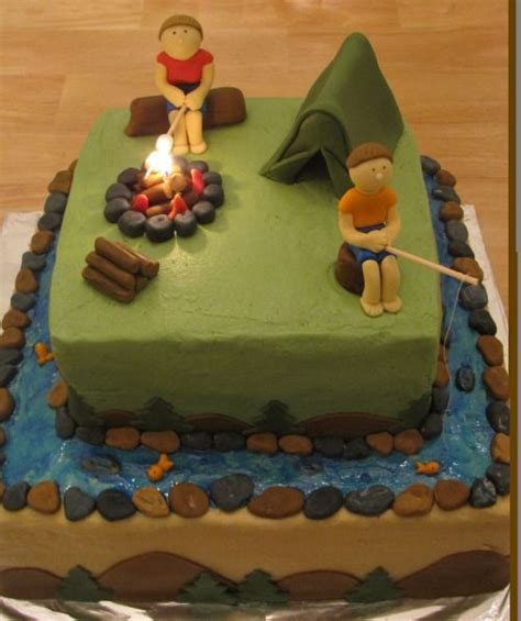 camping theme cakes ideas  pinterest camp