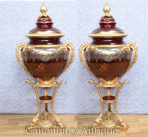 Glass Urn Vase by Pair Large Russian Cut Glass Urns Vases Stands Imperial