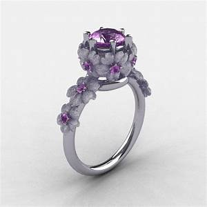 14k white gold lilac amethyst flower wedding ring With flower wedding rings
