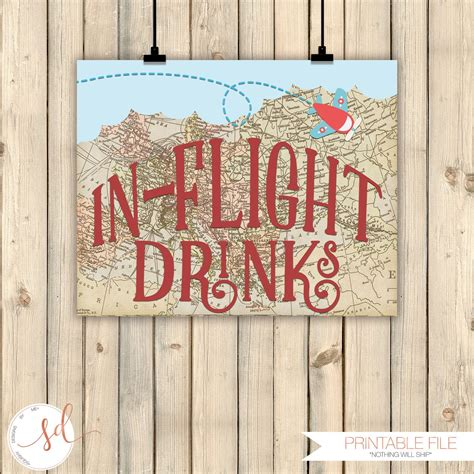 Vintage Travel Airplanes Birthday Party Signs In Flight