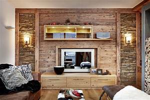 Wohnzimmer Wand Holz : altholz wohnzimmer bs holzdesign ~ Lizthompson.info Haus und Dekorationen