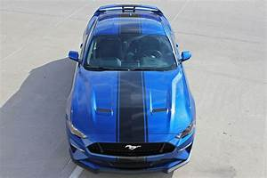 2018 2019 Ford Mustang Racing Stripes HYPER RALLY Vinyl Graphics Wide Hood Decals