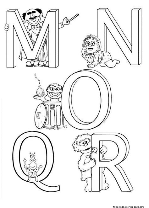 printable sesame street alphabet worksheets  kidsfree printable coloring pages  kids