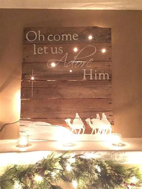 handmade wooden religious pallet sign  lights  etsy