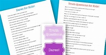 Truth or Dare Game for Kids! {new free printable party ...