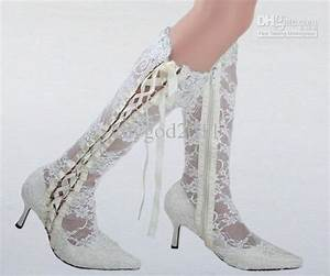 White Lace Wedding Boots Bridal High Heel Pumps