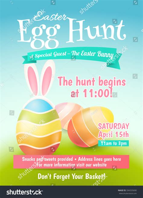 cute poster easter egg hunt colored stock vector