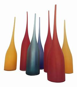 Handblown glass vessels set of 7 chairish for Kitchen cabinet trends 2018 combined with hand blown glass wall art