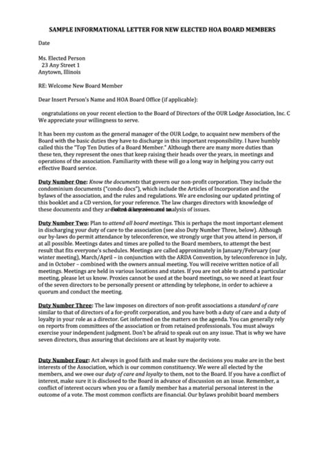 Sample Informational Letter Template For New Elected Hoa