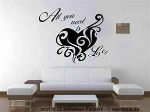 Wandtattoo Schlafzimmer Herz Und Text All You Need Is Love