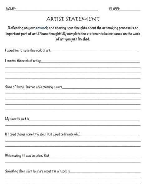 Resource Artist Statement Worksheet  Reflection Sheet Art Education, Art Lesson Review Art