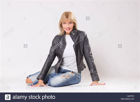 Leather Jacket Woman Mature Stock Photos