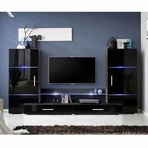 Meuble Design Tv Mural : meuble tv mural design tower i 280cm noir ~ Teatrodelosmanantiales.com Idées de Décoration
