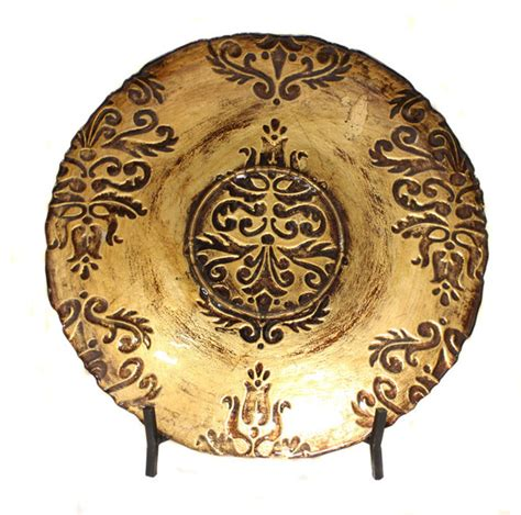 gold toledo bowl decorative art glass plate with display