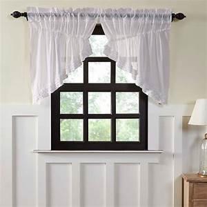 White, Farmhouse, Kitchen, Curtains, Vhc, White, Ruffled, Sheer, Soft, White, 36x36