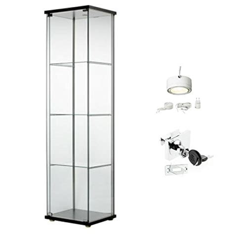 glass cabinet with lights ikea detolf glass curio display cabinet black lockable