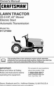 Craftsman 917273860 User Manual Tractor Manuals And Guides
