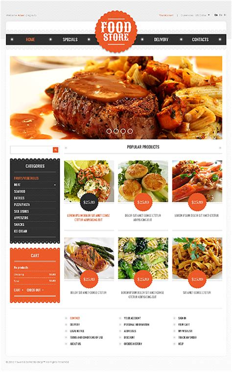 site cuisine delicious food website templates entheos