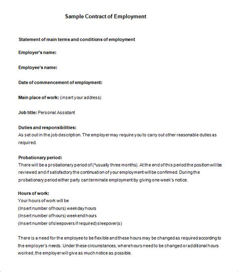 employment agreement template free template design