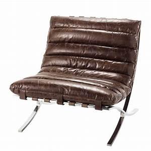 Chaise Cuir Maison Du Monde : fauteuil en cuir marron effet vieilli beaubourg maisons du monde ~ Teatrodelosmanantiales.com Idées de Décoration