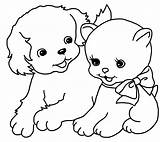 Coloring Pages Puppy Cat Kitten Simple Printable Kittens Puppies Games Drawings sketch template
