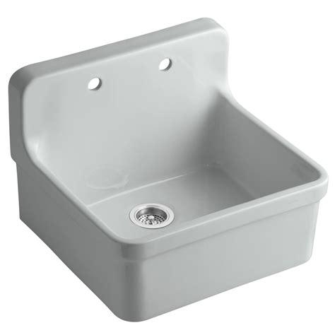 kohler gilford sink specs shop kohler gilford 22 in x 24 in grey single basin