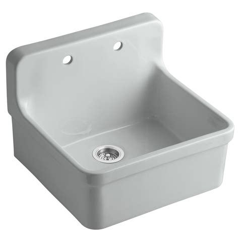 single porcelain kitchen sink shop kohler gilford 22 in x 24 in ice grey single basin