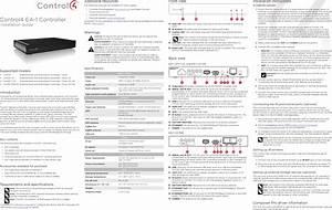 Control4 C4ea1poev2 System Controller User Manual Control4