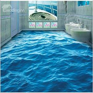 3D Blue Sea Wave Pattern PVC Non-slip Waterproof Eco