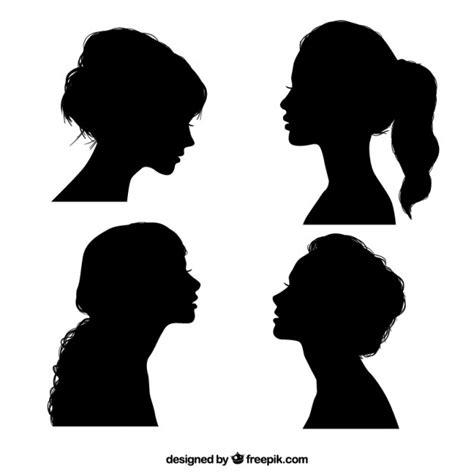zwart meisje silhouetten vector gratis