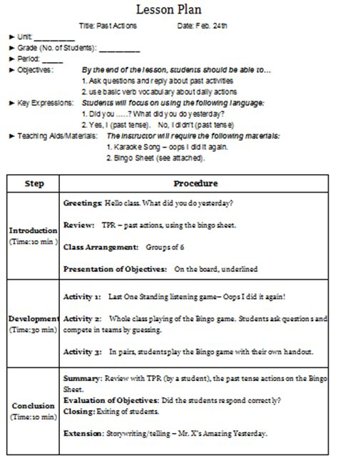 Developing A Lesson Plan Template by Efl 2 0 Resources