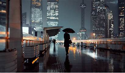 Rain Shanghai Station Cyberpunk