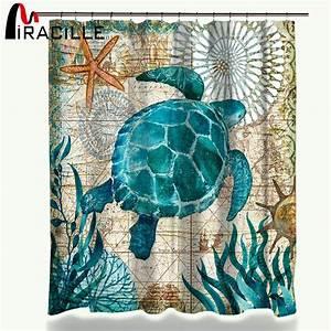 Miracille Sea Turtle Waterproof Shower Curtain Octopus