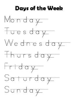 days   week tracing practice  jenna kastran tpt