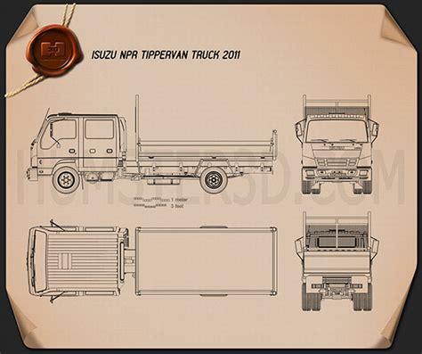 isuzu npr tipper van truck  blueprint humd