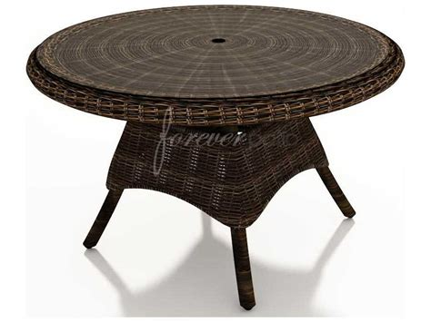 round glass patio table with umbrella hole forever patio leona wicker 48 round glass top dining table