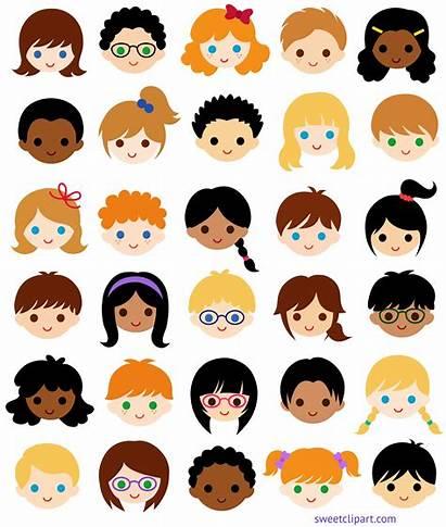 Faces Clipart Multicultural Classroom Clip Children Face
