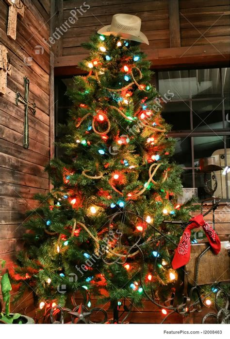 holidays cowboy christmas tree stock picture