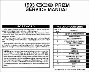1993 Geo Prizm Repair Shop Manual Original