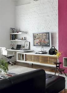 Mur Brique Blanc : le salon en brique rouge stylis en 35 exemples vous faire partager ~ Mglfilm.com Idées de Décoration