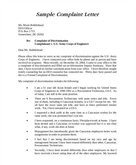 complaint letter sample   word  documents