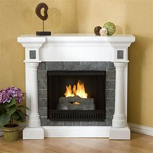 White, Stone, Electric, Fireplace, Tv, Stand