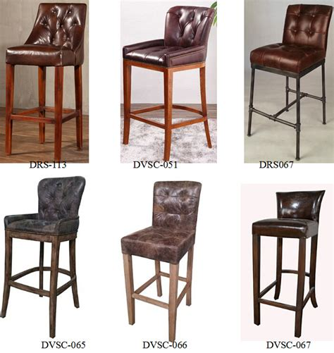 chaise de bar vintage design oak frame industrial vintage martine leather
