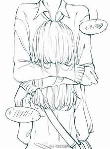 ANIME ART anime couple. . .hug. . .speech bubbles ...